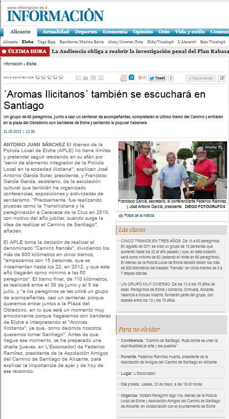 2013-05-21 Informacion_Aromas Ilicitanos también se escuchará en Santiago